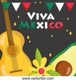 mexican independence day, avocado and guitar flower decoration, viva mexico is celebrated on september