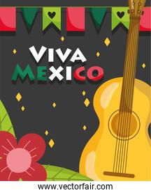 mexican independence day, guitar flowers and pennants decoration, viva mexico is celebrated on september