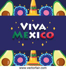 mexican independence day, avocado hats flowers lettering, viva mexico is celebrated on september