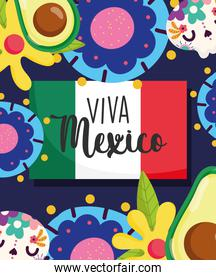 mexican independence day, catrinas flowers avocado and flag decoreation banner, viva mexico is celebrated on september