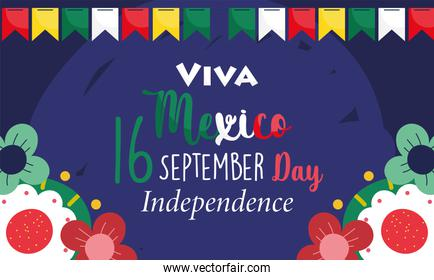 mexican independence day, festive pennants flowers decoration, viva mexico is celebrated on september