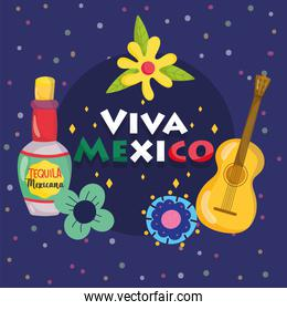 mexican independence day, guitar tequila bottle flowers dark background, viva mexico is celebrated on september