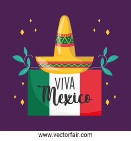 mexican independence day, hat flag floral decoration, viva mexico is celebrated on september