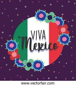 mexican independence day, banner flowers flag, viva mexico is celebrated on september