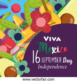 mexican independence day, flowers hat guitar avocado decoration poster, viva mexico is celebrated on september