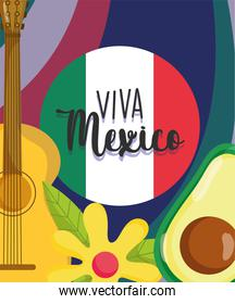 mexican independence day, flag guitar avocado flowers decoration card, viva mexico is celebrated on september