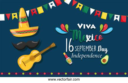 mexican independence day, hat guitar mustache bunting decoration, viva mexico is celebrated on september