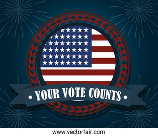 american flag your vote counts, politics voting and elections USA, make it count