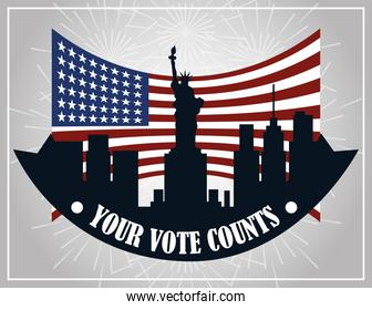 your vote counts american city flag national, politics voting and elections USA, make it count