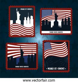 set post stamp american flags city NY your vote counts, politics voting and elections USA, make it count