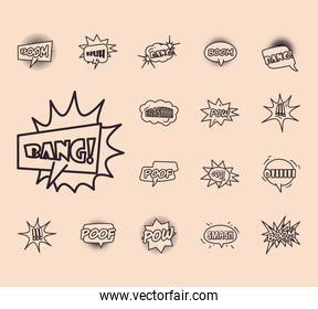 pop art bubbles line style collection of icons vector design