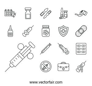 Vaccine research line style set icons vector design