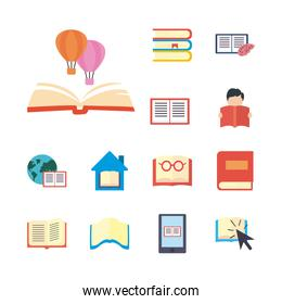 books and ebooks flat style icon set vector design