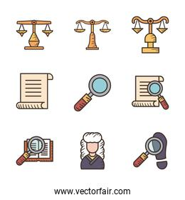 Law and justice line and fill style icon set vector design