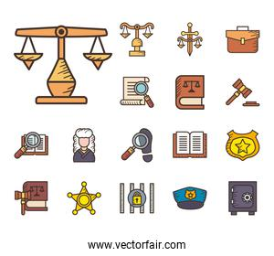 Law and justice line and fill style collection of icons vector design