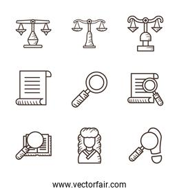 Law and justice line style icon set vector design