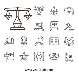 Law and justice line style collection of icons vector design