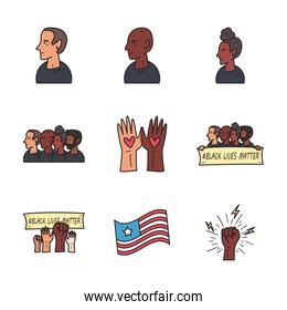 Black lives matter line and fill style icon set vector design
