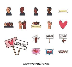 Black lives matter line and fill style set of icons vector design