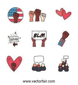 Black lives matter line and fill style icons collection vector design