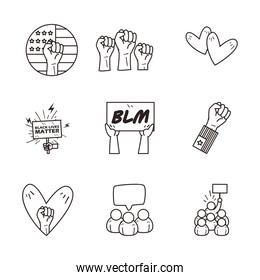 Black lives matter line style icons collection vector design
