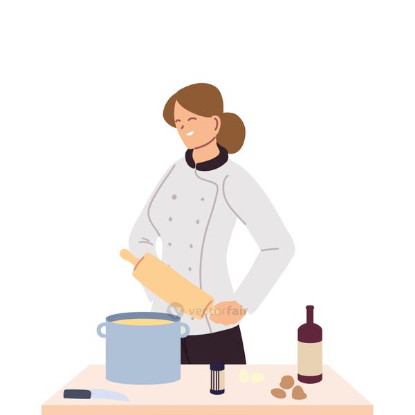 woman chef with roller and board of work