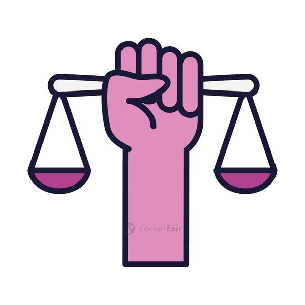 feminism concept, hand holding a scale icon, line and fill style