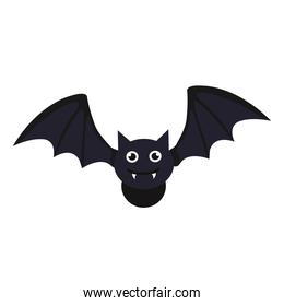 halloween, bat flying icon in white background