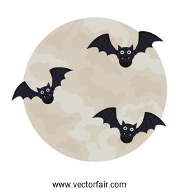 halloween, bats flying with full moon in white background