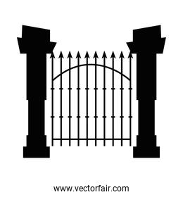 gate and fence of cemetery, on white background