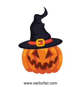 halloween pumpkin with hat witch, in white background