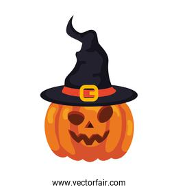 halloween pumpkin with hat witch on white background