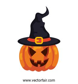 halloween pumpkin with hat witch in white background