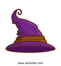 halloween, hat witch purple color on white background
