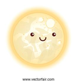 cute moon with face, kawaii style icon