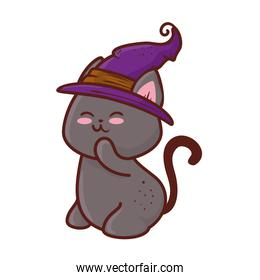 halloween, cute black cat and hat witch, in white background