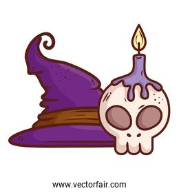 halloween, hat witch and skull with candle on white background