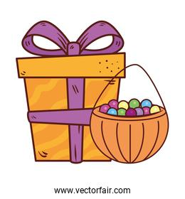 gift box present with candies in pumpkin on white background