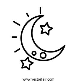 night half moon stars sky white background linear style icon