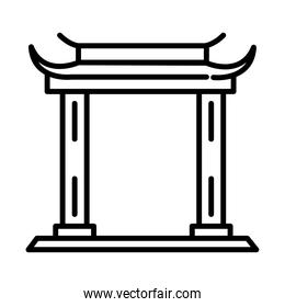 traditional asian gate monument linear style icon