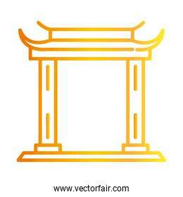 traditional asian gate monument gradient style icon