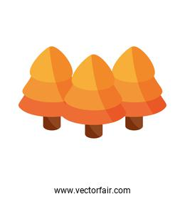 autumn forest pine trees botancial flat icon with shadow