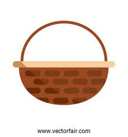 basket wicker handle ornament flat icon with shadow
