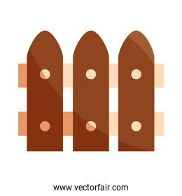 wood fence farm protection flat icon with shadow