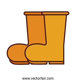 rubber boots equipment line and fill icon