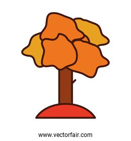 autumn tree foliage vegetation forest line and fill icon