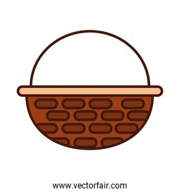 basket wicker handle ornament line and fill icon