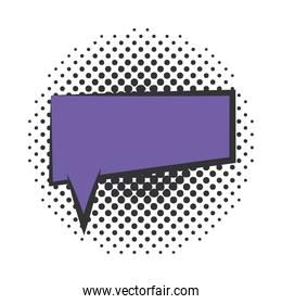 pop art speech bubble vintage halftone style, flat design white background