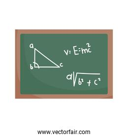 happy teachers day, chalkboard with math lesson, isolated icon white background
