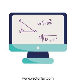 happy teachers day, online learn class maths, isolated icon white background